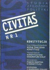 CIVITAS. Studia z filozofii polityki, nr 1 (rocznik 1997) : Konstytucja
