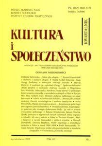 Kultura i Społeczeństwo, 2012 nr 1 : Odmiany nierówności