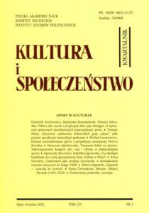 Kultura i Społeczeństwo, 2012 nr 3 : Sport w kulturze