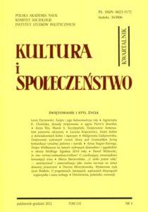 Kultura i Społeczeństwo, 2012 nr 4 : Świętowanie i styl życia