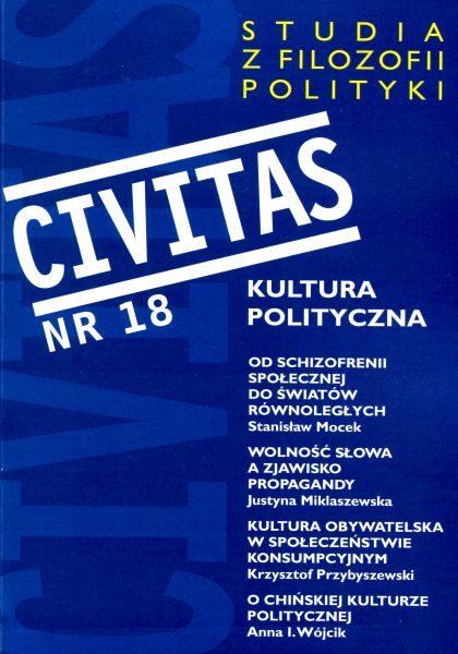 CIVITAS. Studia z filozofii polityki, nr 18 (rocznik 2016) : Kultura polityczna