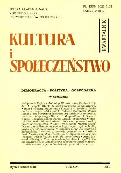 Kultura i Społeczeństwo, 2001 nr 1 : Demokracja – Polityka – Gospodarka