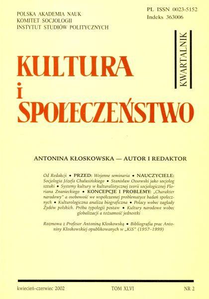 Kultura i Społeczeństwo, 2002 nr 2 : Antonina Kłoskowska – autor i redaktor