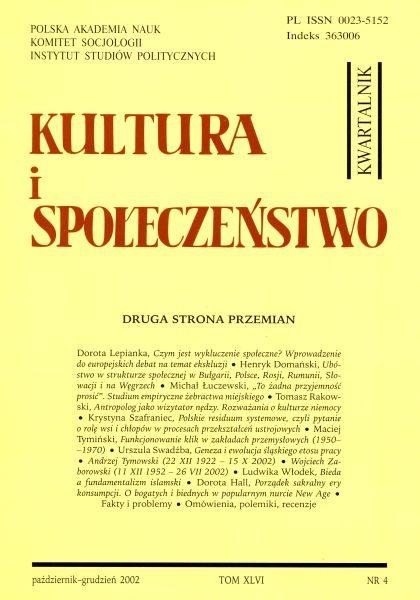 Kultura i Społeczeństwo, 2002 nr 4 : Druga strona przemian