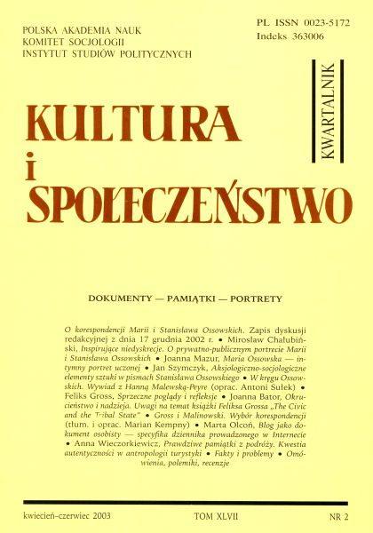 Kultura i Społeczeństwo, 2003 nr 2 : Dokumenty – Pamiątki – Portrety