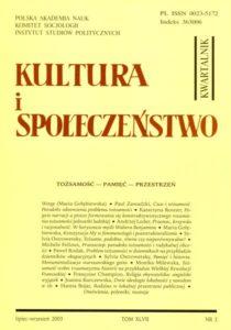 Kultura i Społeczeństwo, 2003 nr 3 : Tożsamość - Pamięć - Przestrzeń