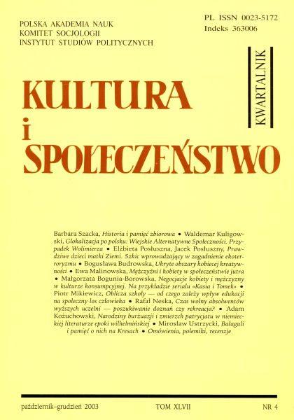 Kultura i Społeczeństwo, 2003 nr 4