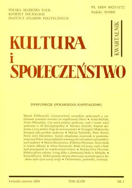 Kultura i Społeczeństwo, 2004 nr 2 : Dysfunkcje (polskiego) kapitalizmu