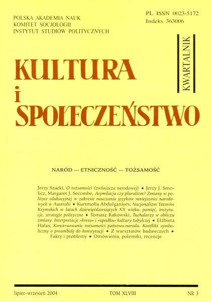 Kultura i Społeczeństwo, 2004 nr 3 : Naród – Etniczność – Tożsamość