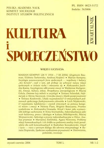 Kultura i Społeczeństwo, 2006 nr 1-2 : Więzi i uczucia