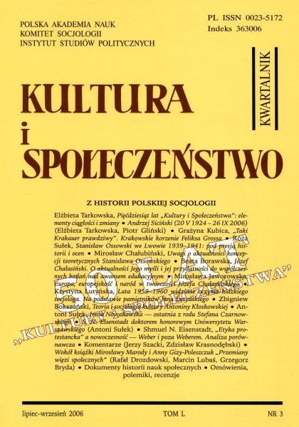 Kultura i Społeczeństwo, 2006 nr 3 : Z historii polskiej socjologii