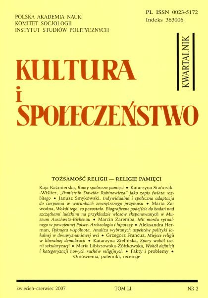 Kultura i Społeczeństwo, 2007 nr 2 : Tożsamość religii – religie tożsamości