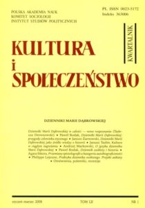 Kultura i Społeczeństwo, 2008 nr 1 : Dzienniki Marii Dąbrowskiej