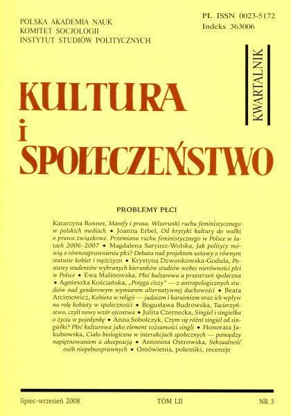 Kultura i Społeczeństwo, 2008 nr 3 : Problemy płci (Problems of Sex and Gender)
