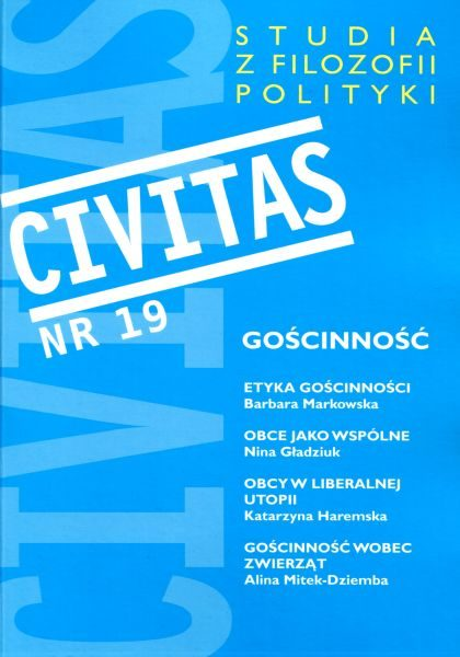 Civitas. Studia z filozofii polityki nr 19 (2016) : Gościnność