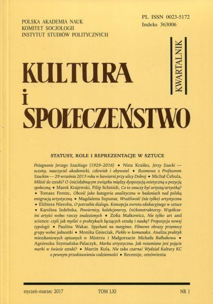 Kultura i Społeczeństwo, 2017 nr 1 : Statusy, role i reprezentacje w sztuce