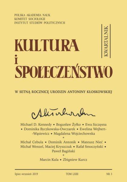 Kultura i Społeczeństwo, 2019 nr 3 : W setną rocznicę urodzin Antoniny Kłoskowskiej