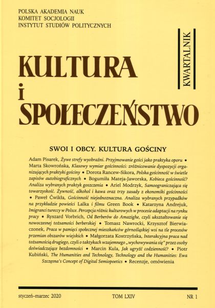 Kultura i Społeczeństwo, 2010 nr 1 : Swoi i obcy. Kultura gościny
